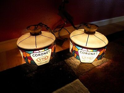 Vintage Pair of Coronet VSQ Brandy Stained Glass Hanging Round Bar Light Works