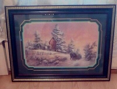 Framed Lee K Parkinson Memories Snow Scene with Carriage and Barn 1990's