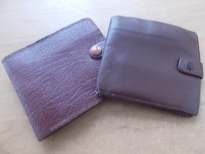 Two Vintage Real Leather Gents Wallet Bill-Fold - Brown Leather