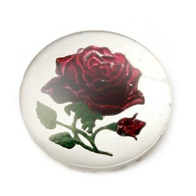 (1) 27mm Antique Czech intaglio hand painted red rose floral art glass cabochon