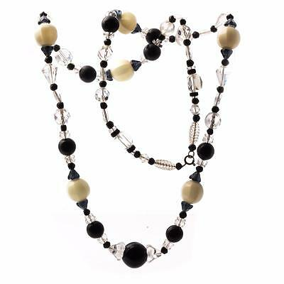 Vintage Czech fine art necklace clear black amethyst Uranium Deco glass beads