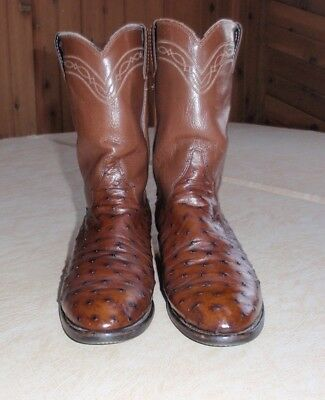 Justin Full Quill Ostrich Boots -- Tobacco (8.5 EE Mens)