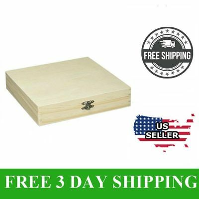 Wood Cigar Box Unfinished Pine Storage Wooden Boxes Sanded Smooth Gift Xmas NEW