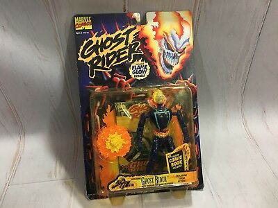 Toy Biz Marvel Comics 1996 Ghost Rider Action Figure Exploding Chest Glow Flames