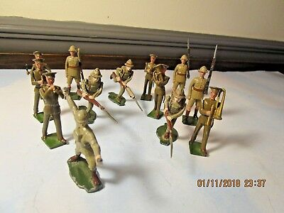 Vintage Lot Of 13 British Lead Toy Soldiers And Band Members