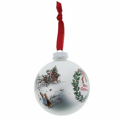 Beatrix Potter Peter Rabbit and Flopsy Christmas Glass Bauble 8cm A28974 New