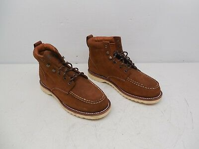 """Pair Of Mens Gear Brown Leather 6"""" Vibram Moc Toe Work Boots Sz 14"""