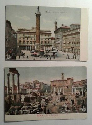 Vintage Postcard Lot of 2 Rome, Italy Colonna Piazza, Roman Forum