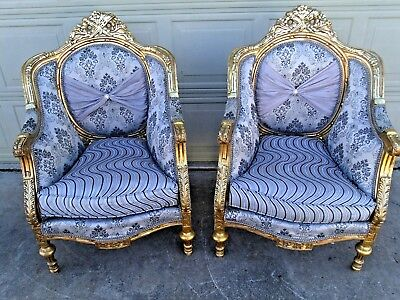 Vintage Pair of Gold Gilded and Carved European French Arm Chairs