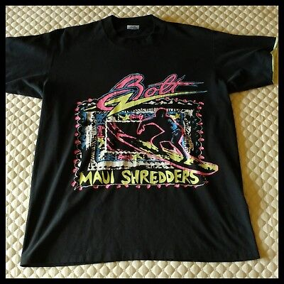 f071543967be9 VINTAGE 80'S NEW Wave Lightning Bolt Maui Shredders Surfing Skate T-shirt  Large