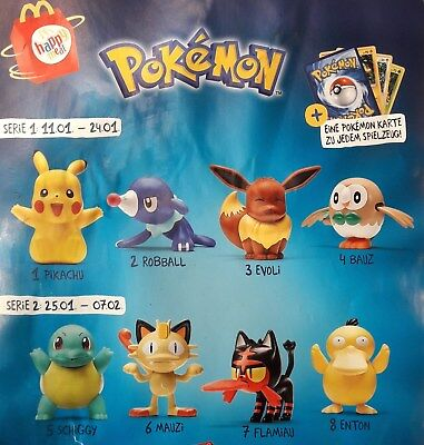 Mc Donalds Happy Meal / Pokemon  2017 alle 8 Figuren Komplett / Neu - orig.Verp.