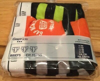 Gap Kids Boys Size Medium (8-9) Set Of 3 Athletic & Stripe Brief Underwear. Nwt