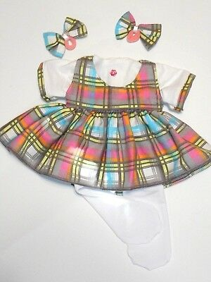 """Cabbage Patch Doll Clothes: Fit 16""""doll:plaid Flnl Jumper,,bow,knit T & Tights"""