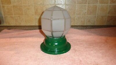 Vintage Cast Iron Ceiling Light Single Bulb & Frosted Octagon Type Glass Shade