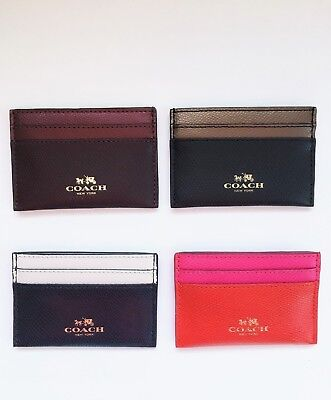 New Coach Crossgrain Leather Card Holder Case  F63669 New with Tags