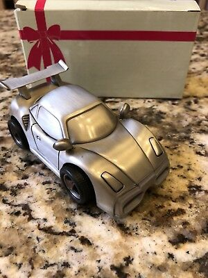 Brand New in Box Brushed Silver Sports Car Bank