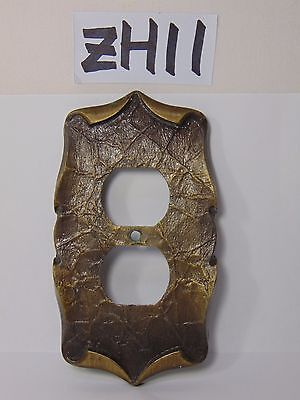 Vintage Amerock Carriage House Electric Outlet  Cover Single Antique Brass