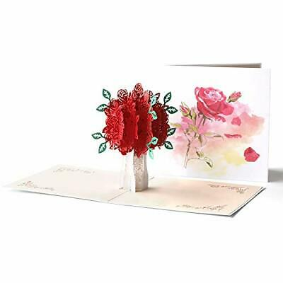 3D Pop Up Valentine Flower Tree Thank You Love Wedding Holiday Greeting Card
