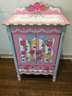 NEW Children's Pink Girl's Room JEWELRY Box Wood  ARMOIRE Floor Cabinet Chest