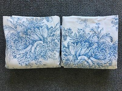 "Pair Of Vintage Blue & White Floral Toile Cotton Curtain Panels 40"" X 80"""