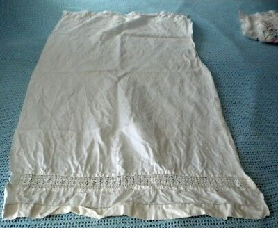 """vintage white cotton show towel with hand crochet pulled work 19"""" x 38"""" long"""