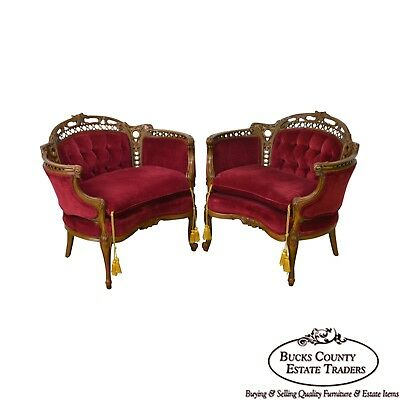 French Louis XV Style Pair of Carved Walnut Tufted Bergere Chairs circa 1940s