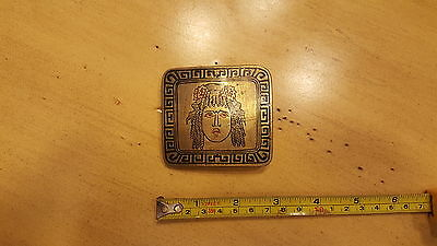 Vintage Handmade SMS Collector's Folk Art  Belt Buckle Goddess Mural Solid Brass