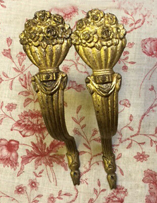 Louis XVI Style Pair of Old French Gilded  Brass Curtain Pole Holders
