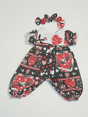 "Cabbage Patch Doll Clothes: Fit 16""doll:black And White And Red Val.jumpsuit.3Pc"
