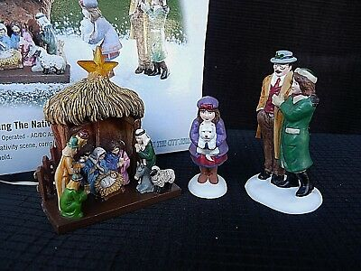 Retired Department 56~Visiting The Nativity~ #58956 Lights Christmas In The City