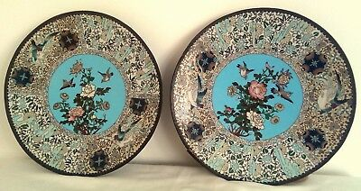 Pair of large japanese cloisonne wall chargers, meiji period