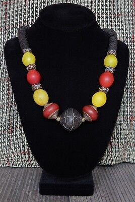 Antique Bead necklace Ancient Terracotta Africa, Tibet,Europe Handmade Artisan