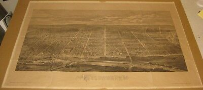 SCARCE Antique MELBOURNE AUSTRALIA Birds Eye View MAP Engraving by Albert Cooke
