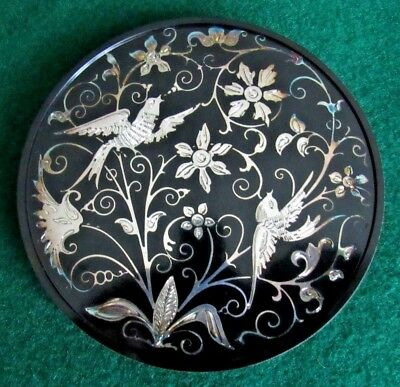 Three Vintage Inlaid Sterling  Silver Coaster from Thailand of Birds and Flowers