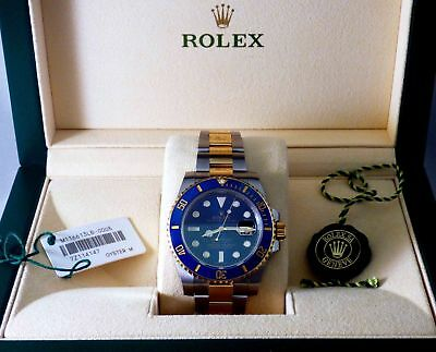 ROLEX OYSTER SUBMARINER 2016 NEW 18KT Gold SS W/Watch Box Papers Authentic