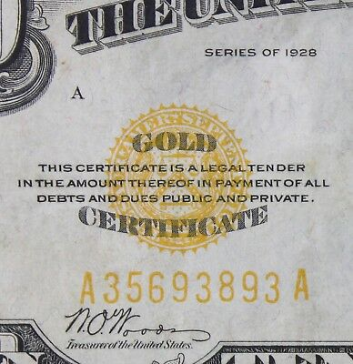 $10 1928 gold certificate A35693893A Key single year issue ten dollar FREE SHIP.