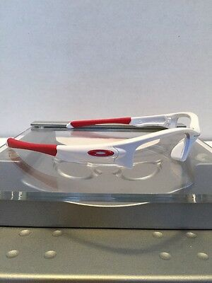 :-) Oakley Quarter Jacket Polished White Frame Red Icons Fast Free S/H :-)