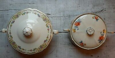 LOT OF 2 Antique Floral Covered Ceramic Serving Bowls Argosy W.S. George Ivory