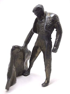 Vintage Bronze Metal Cast Iron Brutalist Spanish Bullfighter Matador Sculpture