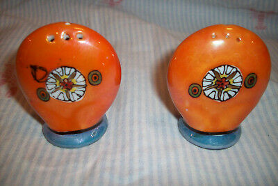 Vintage Early 20th Century Japanese Art Deco Lustreware Salt and Pepper Shakers