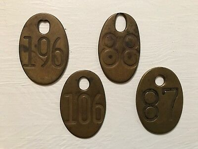 4 Antique Vintage Brass Cow Number Tags Dairy Farm Cattle Marker Double Sided