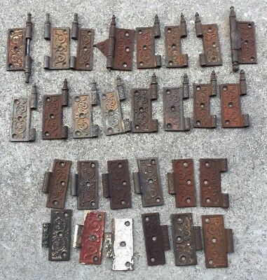 "Estate Lot Of Iron Antique Victorian Eastlake 3 1/2"" Door Hinges Hinge Hardware"