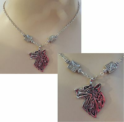 Silver Nordic Wolf Pendant Necklace Jewelry Handmade NEW Adjustable Viking