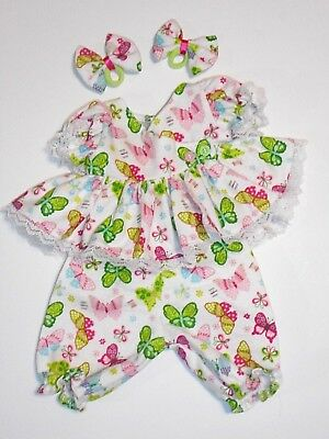 "Cabbage Patch Doll Clothes: Fit 16""doll:butterfly Printed Flanl Pant Set -4Pc"