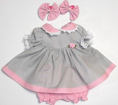"Cabbage Patch Doll Clothes: Fit 16""doll:grey&pink/wht Dot Dress Set- 4Pc"