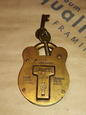 Antique Squire Old English SolId Brass Padlock  4 admiralty  with  2 Keys