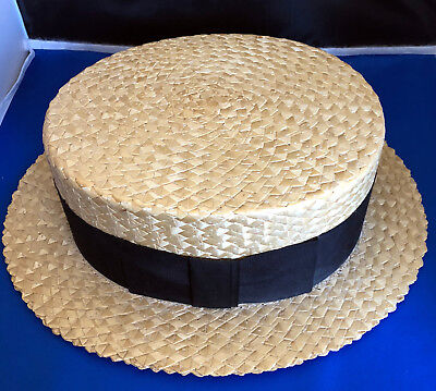 Old Vintage Straw Boater Hat by Whitehall Size 7 1/2 - Excellant Condition