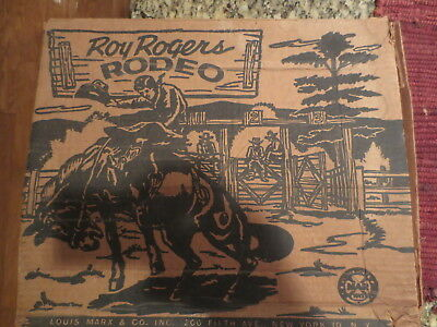 VINTAGE 50's ROY ROGERS RODEO TOY SET DOUBLE R BAR RANCH BOX MARX CO BUCKBOARD