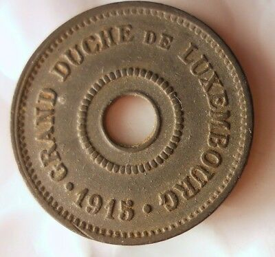 1915 LUXEMBOURG 10 CENTIMES - AU - Very Scarce WW1 Coin - Big Value - Lot #J12