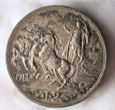 1914 ITALY 2 LIRE - RARE SILVER COIN - Key Coin Type - Big Value - Lot #J12